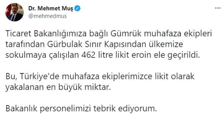 Son dakika... Bakan Muş duyurdu Türkiyede yakalanan en büyük miktar...