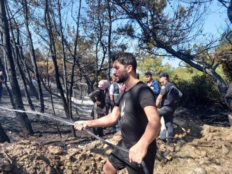 İzmirde orman yangını Havadan karadan müdahale ediliyor