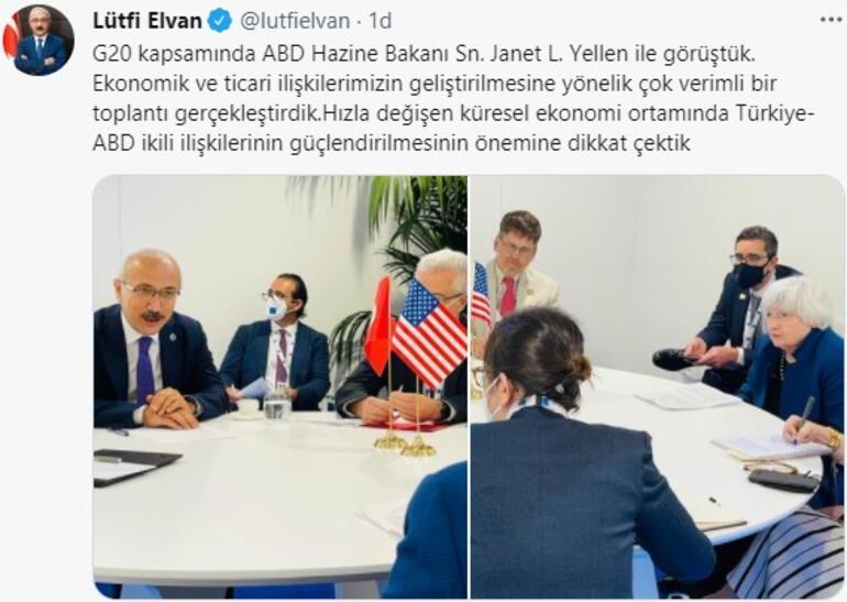 Bakan Elvan, ABD Hazine Bakanı Yellen ile görüştü