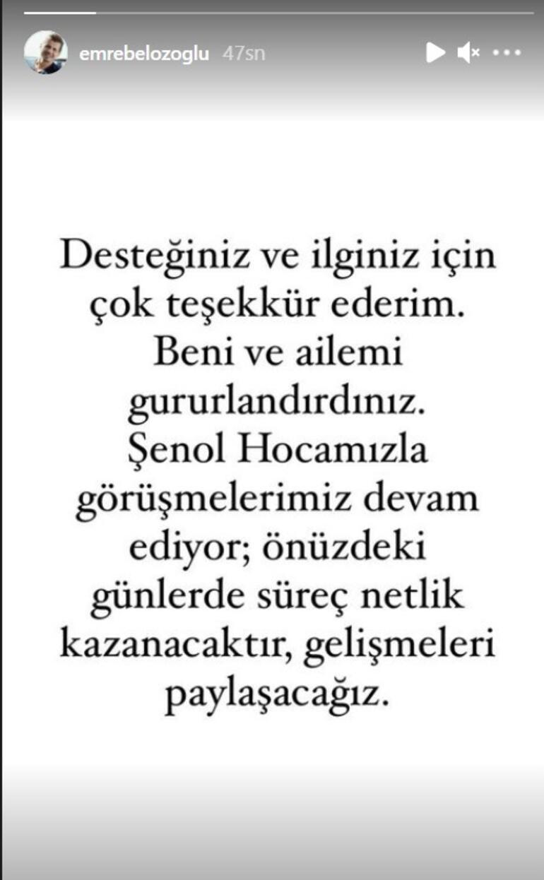 Son dakika - Emre Belözoğlu resmen açıkladı: Şenol Hocamızla görüşmelerimiz devam ediyor