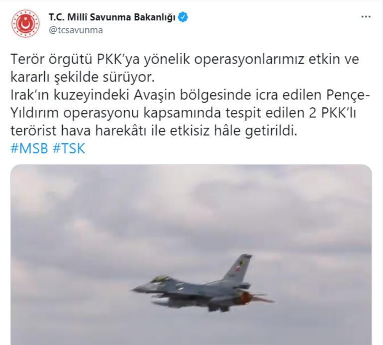 Son dakika... MSB duyurdu 2 PKKlı terörist etkisiz hale getirildi