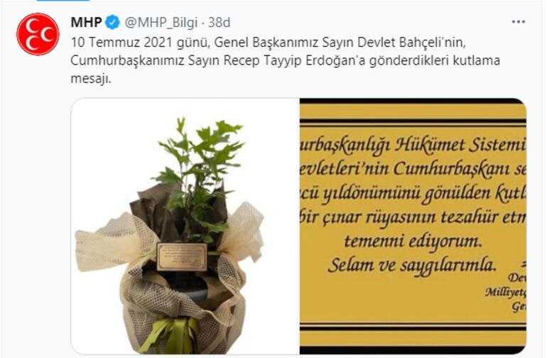 MHP lider Bahçeliden Cumhurbaşkanı Erdoğana tebrik mesajı
