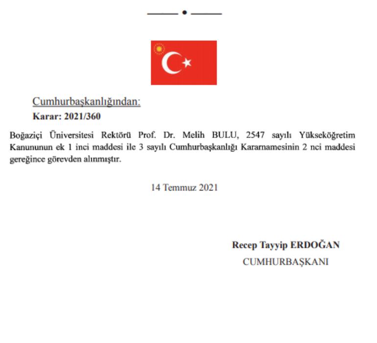 Son dakika haberi: Boğaziçi Üniversitesi Rektörü Melih Bulu görevden alındı