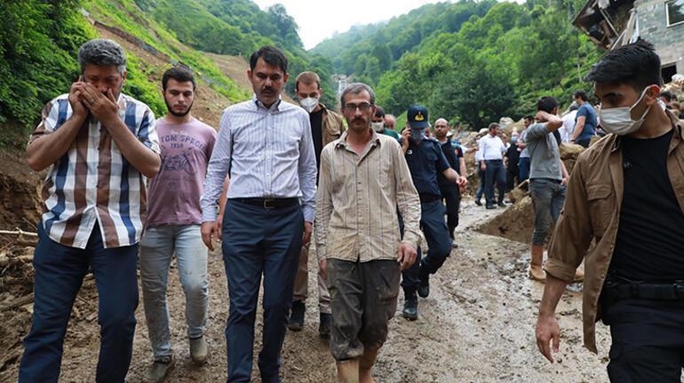 Bakan Kurum, Rizede afet bölgesinde incelemelerde bulundu