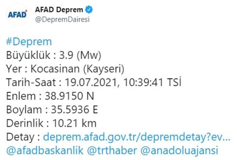 Son dakika... Kayseride peş peşe depremler 3.8 ve 3.9 büyüklüğünde...