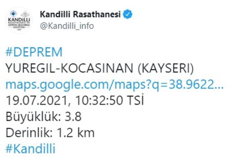 Son dakika... Kayseride 13 dakika arayla 3 deprem 3.8, 3.9 ve 3.0 büyüklüğünde...