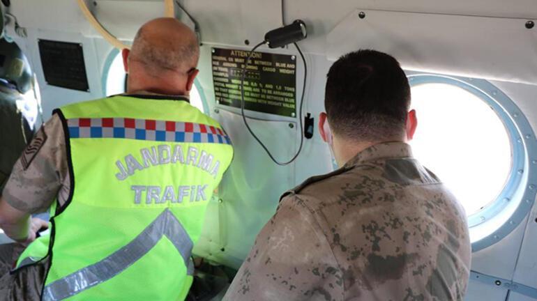 Helikopterden trafik denetimi Böyle tespit ettiler