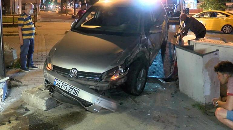 Kontrolünü kaybeden araç büfeye çarptı