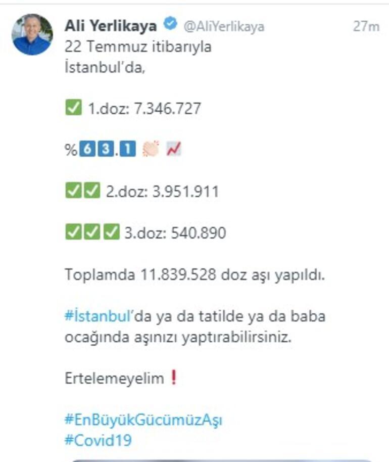 Vali Yerlikaya duyurdu İşte İstanbulda yapılan aşı sayısı