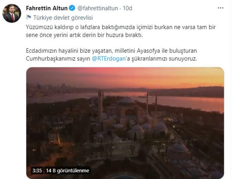 Cumhurbaşkanlığı İletişim Başkanı Fahrettin Altundan Ayasofya paylaşımı