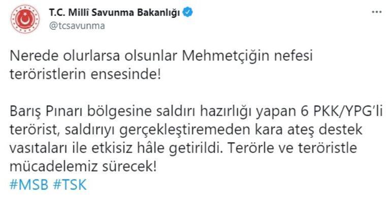 Barış Pınarı bölgesine saldırı girişimi Teröristler vuruldu