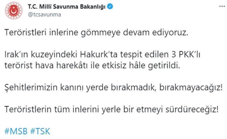 Hakurka terör operasyonu 3 PKKlı etkisiz hâle getirildi