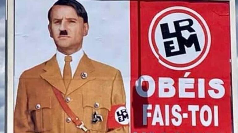 Macrondan Hitlere benzetildiği afişlere suç duyurusu