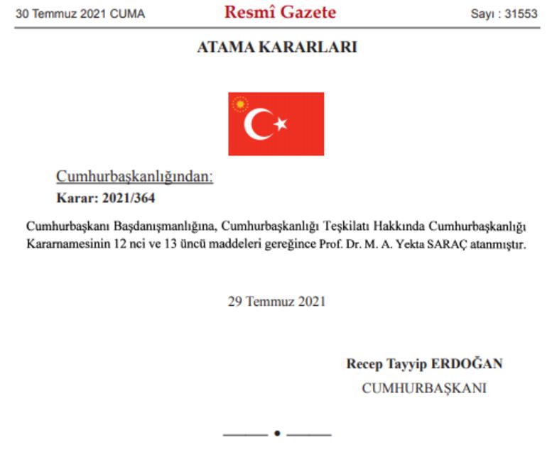Son dakika: Cumhurbaşkanlığı Başdanışmanlığına Prof. Dr. Yekta Saraç atandı