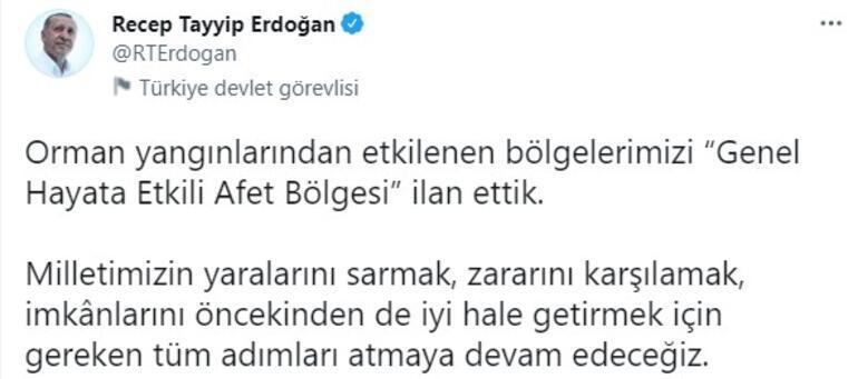 Son dakika... Cumhurbaşkanı Erdoğan duyurdu Yangın bölgeleri afet bölgesi ilan edildi