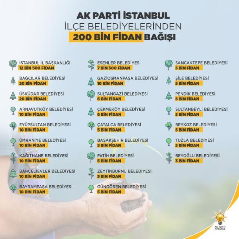 AK Parti İstanbuldan 200 bin fidan bağışı