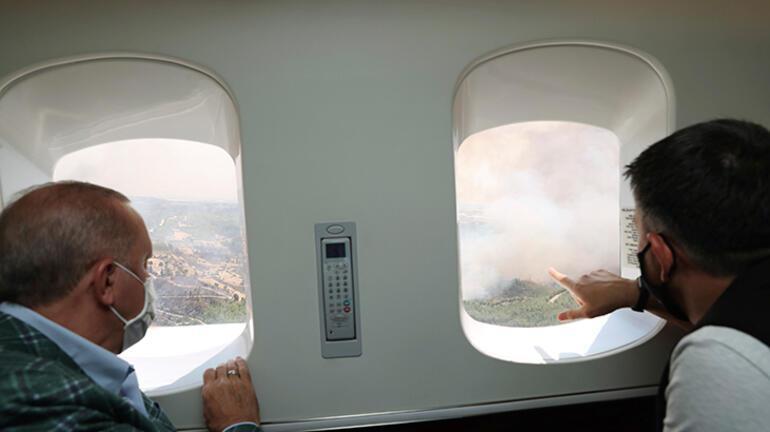 Cumhurbaşkanı yangın bölgelerini ziyaret etti: Uçak sıkıntısının nedeni THK'dır