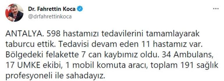 Son durumu açıkladı Bakan Kocadan Antalya ve Muğla paylaşımı