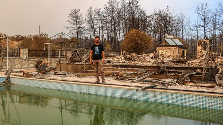 6 kişilik aile havuza girdi, yangından kurtuldu