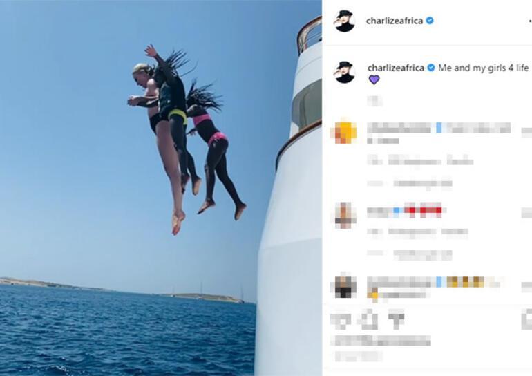 Charlize Theron metrelerce yüksekten denize atladı