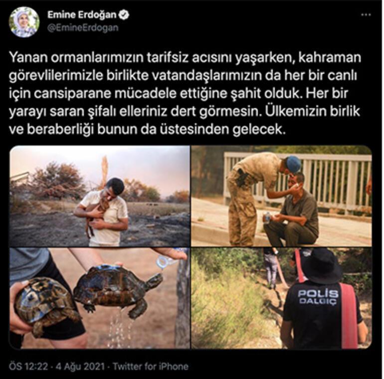 Emine Erdoğan, orman yangınlarına ilişkin paylaşım