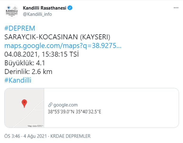 Kayseride deprem mi oldu, nerede, kaç şiddetinde 4 Ağustos son depremler listesi...