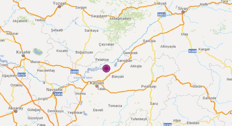 Son dakika Kayseride korkutan deprem Büyüklüğü...