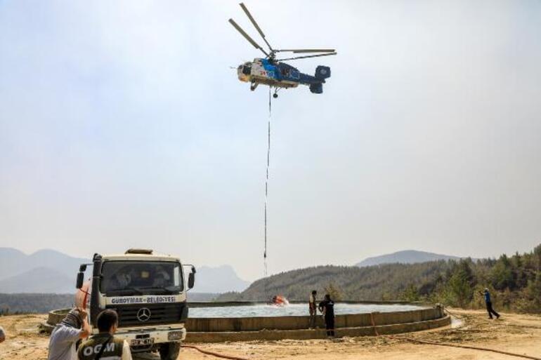 3 dakikada 8 helikopter Yangın bölgesinden sıcak görüntüler