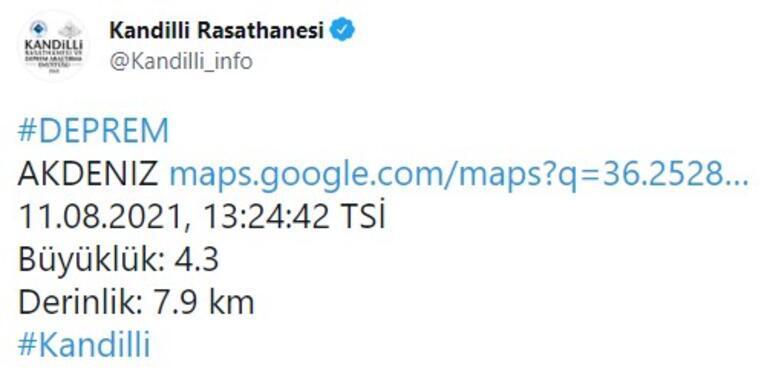 Son dakika... Datça açıklarında 4.2 büyüklüğünde deprem