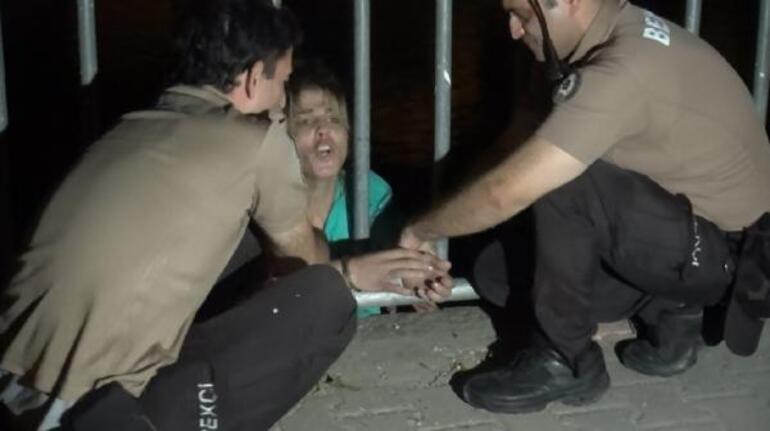 Kelepçeli önlem Bekçiler kadını havada yakaladı