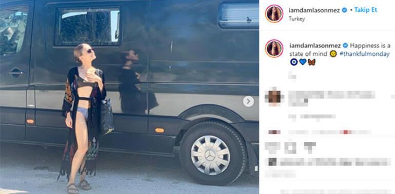 Damla Sönmez babasıyla karavan tatilinde