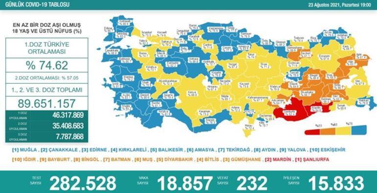 Son dakika: 23 Ağustos 2021 koronavirüs tablosu ve aşı haritası belli oldu Vakalar...