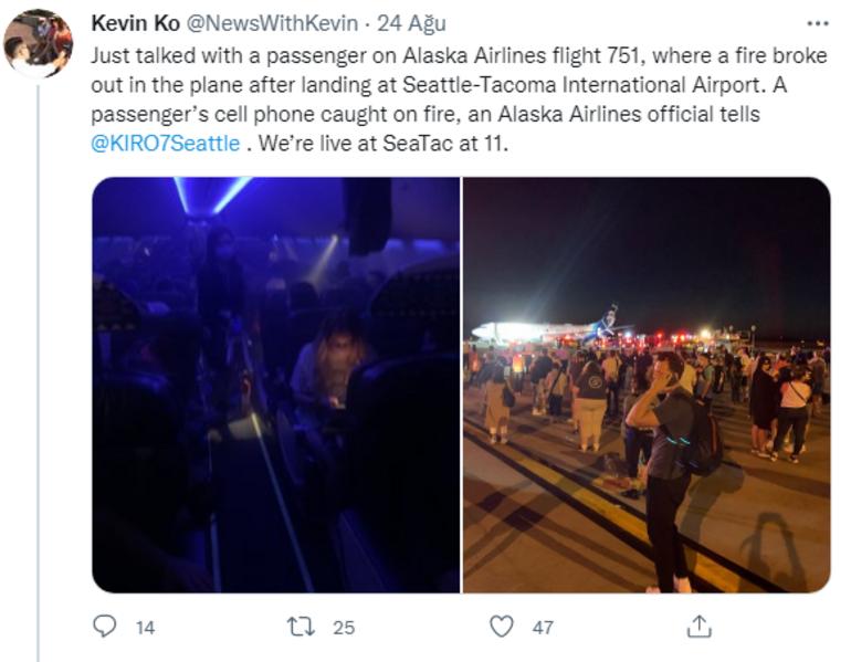 Uçakta telefon paniği Telefon alev aldı, tahliye edildi