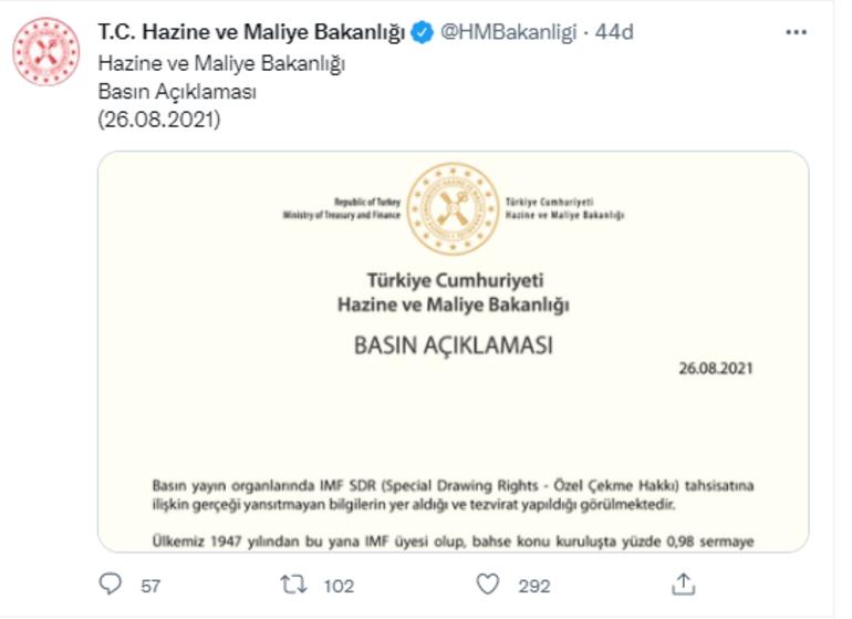 Hazine ve Maliye Bakanlığından IMF açıklaması