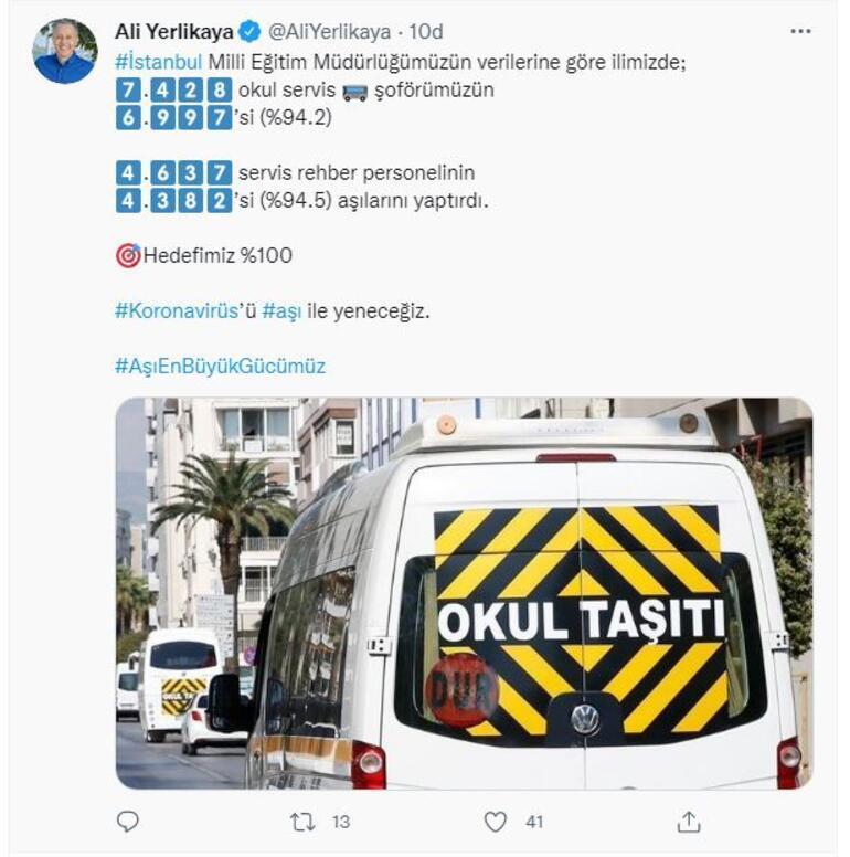 İstanbul Valisi Yerlikaya: Servis şoförlerinin yüzde 94ü aşısını yaptırdı