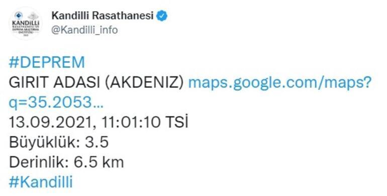 Akdenizde 3.9 büyüklüğünde deprem