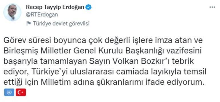 Cumhurbaşkanı Erdoğandan Volkan Bozkıra kutlama
