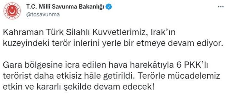 Garaya hava harekatı 6 PKKlı terörist etkisiz hale getirildi