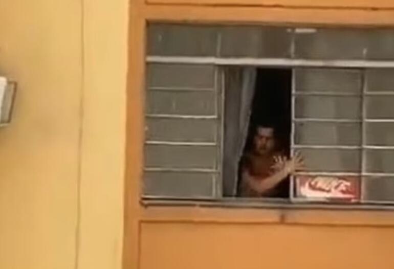 Hamile kadın kocasından kaçmak için camdan atlamaya çalıştı