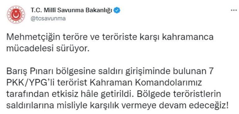 Barış Pınarı bölgesinde sıcak çatışma 7 PKKlı terörist vuruldu