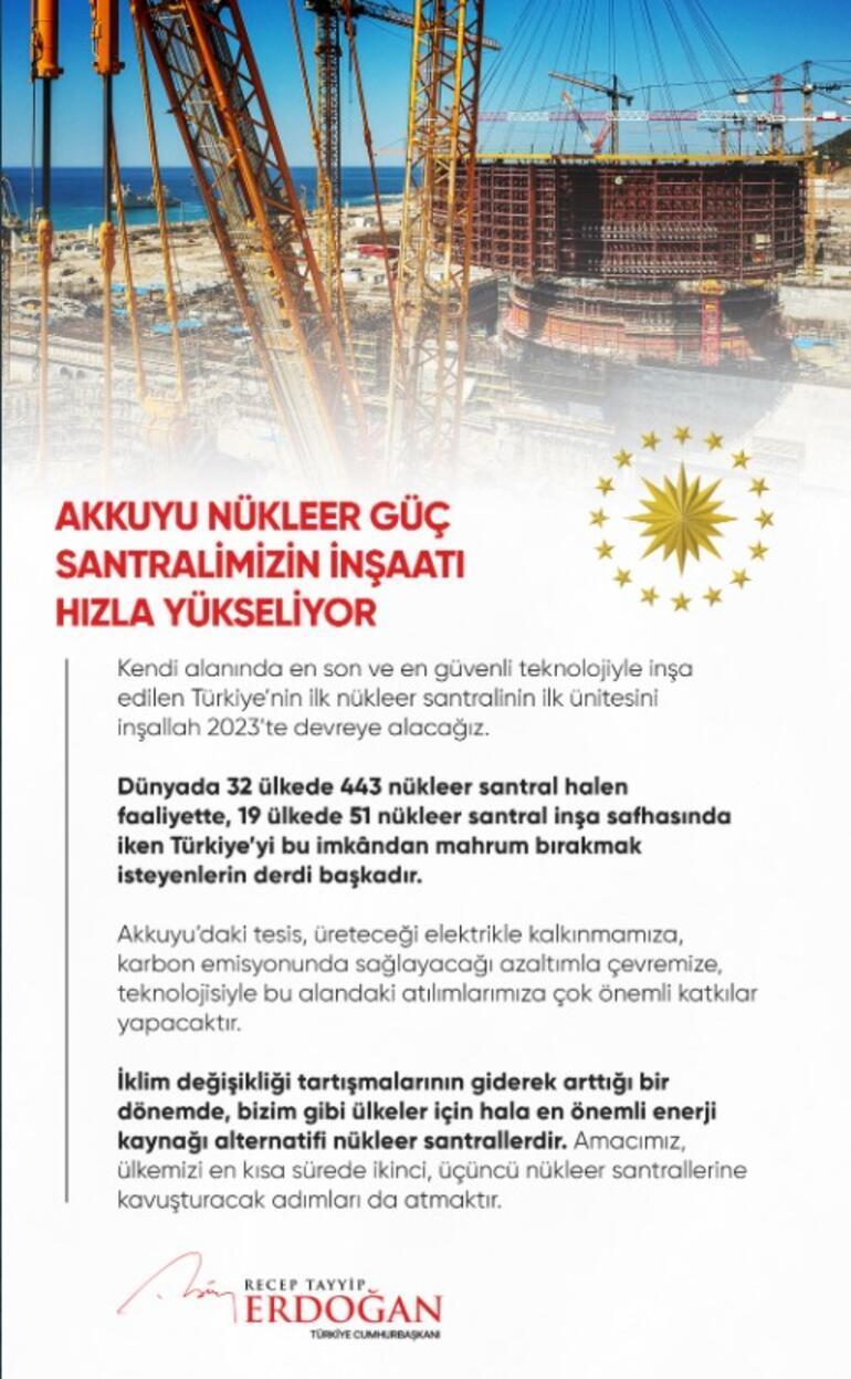 Cumhurbaşkanı Erdoğandan Akkuyu paylaşımı