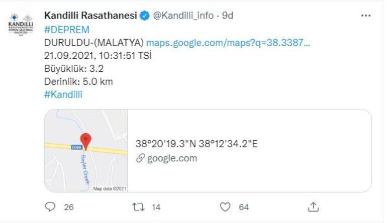 Son dakika Malatyada 3.3 büyüklüğünde deprem
