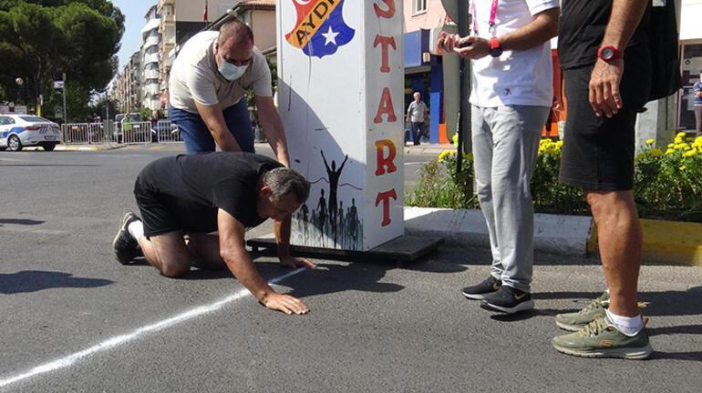 Koşuyu son 3 metre kalınca emekleyerek bitirdi, hastaneye kaldırıldı