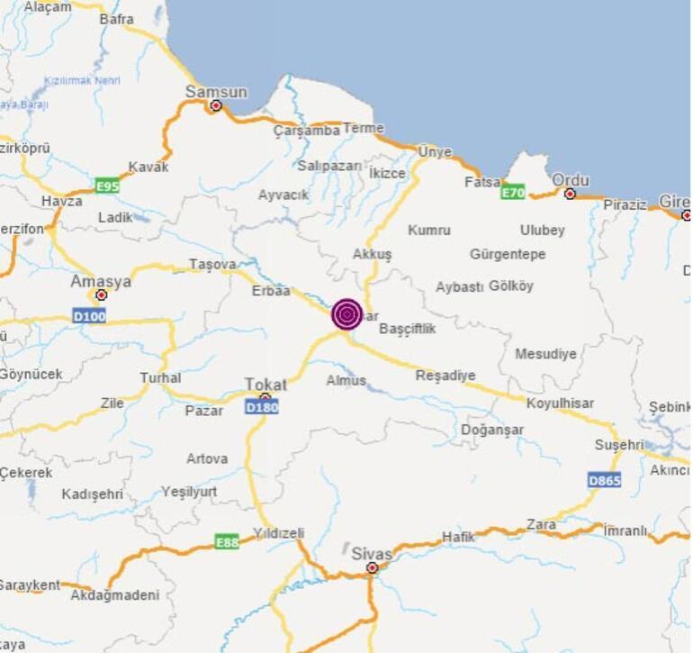 Son dakika Tokatta korkutan deprem Büyüklüğü...