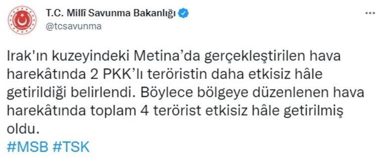 Metinada operasyon 4 PKKlı etkisiz hale getirildi