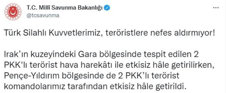 İki bölgede 4 PKKlı etkisiz hale getirildi