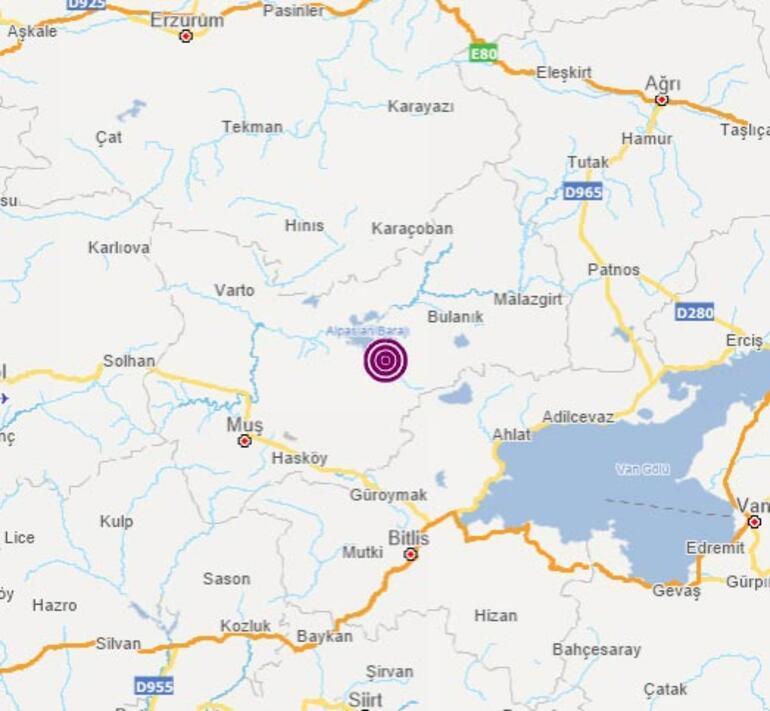 Son dakika Muşta 3,6 büyüklüğünde deprem