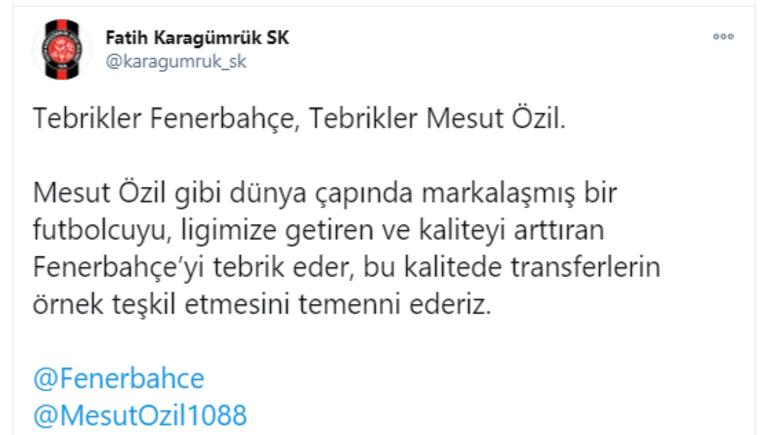 Son dakika | Fatih Karagümrükten Fenerbahçeye Mesut Özil tebriği