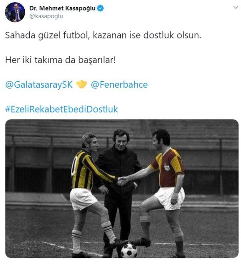 Bakan Kasapoğlundan derbi paylaşımı: Kazanan dostluk olsun